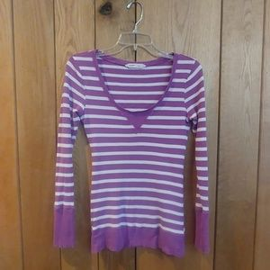 4/$25 Old Navy Purple White Thermal Long Sleeve M
